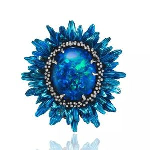 Blue flower opal ring